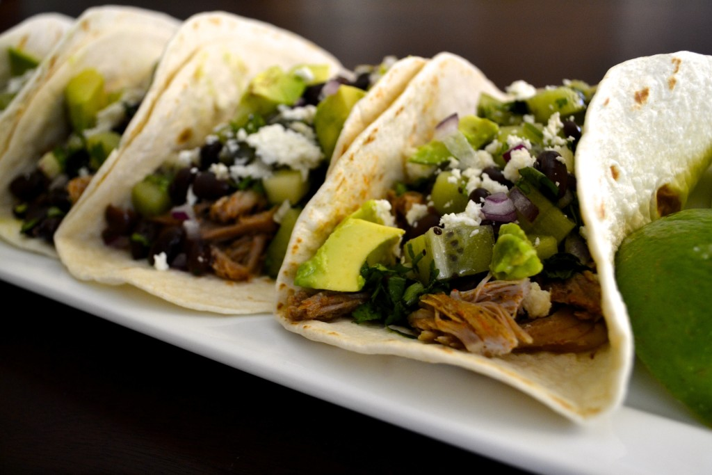 PORK TACOS WITH BLACK BEANS